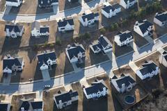 modern suburban homes aerial - stock photo