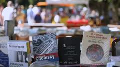 Books on sale at Porto Alegre's Flea Market (FleaMkt 41) Stock Footage