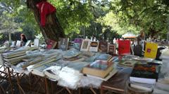 Books on sale at Porto Alegre's Flea Market (FleaMkt 42) Stock Footage