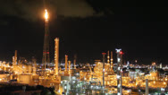Stock Video Footage of Night scene of petrochemical plant