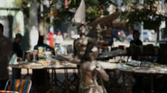 Bronze sculpture on sale at Porto Alegre's Flea Market (FleaMkt 36) Stock Footage