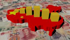 China map flag with graph on yuan animation Stock Footage