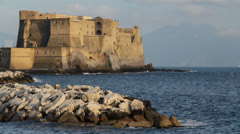 Castle in Naples, Italy with Vesuvio in the background Stock Footage