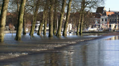 Flooded road, Deventer quay in background, zoom out Stock Footage