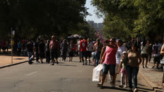 Shopping crowd on the Flea Market in Porto Alegre, Brazil (FleaMkt 03) Stock Footage