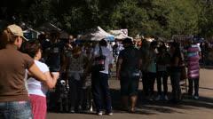 Crowd with dogs walk at Porto Alegre's Flea Market (FleaMkt 07) Stock Footage