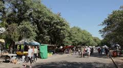 People around the kiosks at Porto Alegre's Flea Market (FleaMkt 11) Stock Footage