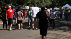 People walk around Porto Alegre's Flea Market (FleaMkt 14) Stock Footage