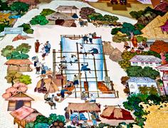 bangkok ,thailand - may 19 : ancient  painting on monastery wall in buddhist - stock illustration