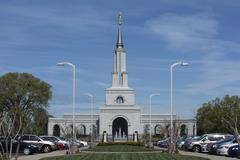 LDS Mormon Temple and garden Sacramento California - stock photo