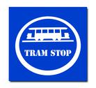 The sign of tram stop isolated on white background Stock Illustration