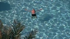 Pool, man Stock Footage