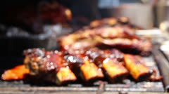 Juicy Beef Ribs On Barbecue Grill Stock Footage
