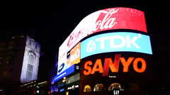 Picadilly Circus at Night Stock Footage