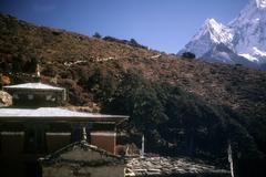 Thyangboche monastery and peak of ama dablam Stock Photos