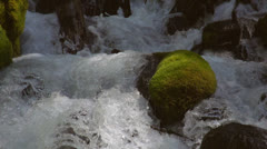 Tiered waterfall descends between rocks and logs Stock Footage