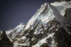 Kabru, icefall and snowy ridges Stock Photos
