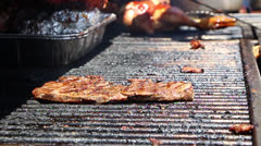 Flank Steak and Chicken on Barbecue Grill Stock Footage