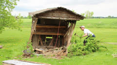 shed gets knocked down - stock footage