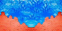 The ruin of brickwall on blue sky background Stock Illustration