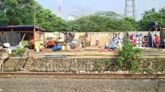 Jakarta Slum Areas Stock Footage