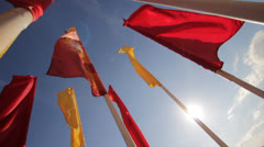 Colored flags (slow motion) Stock Footage