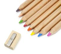 Color pencil and sharpener Stock Photos