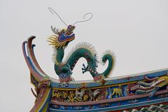 Dragon roof top taoist temple, xiamen, china Stock Photos
