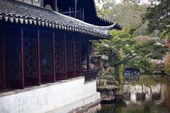 garden of the humble administrator ancient chinese house reflection suzhou ch - stock photo