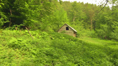 House in the forest with steadycam Stock Footage