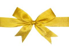 gold gift bow isolated on white - stock photo