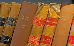 Archive of old probate books in a library Stock Photos
