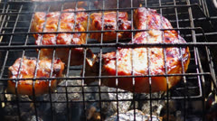 Spareribs on the grill - stock footage