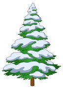 Christmas tree with snow - stock illustration