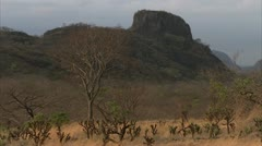 Landscape of mountain and land. Niassa Reserve, Mozambique. Stock Footage