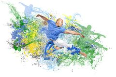 water explosion with jumping dancer man - stock photo