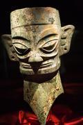 bronze three thousand year old mask statue sanxingdui museum che - stock photo