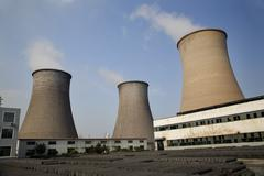 cooling towers coal fired electricity plant anshan liaoning province china - stock photo