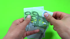 Person counting 100 euro Stock Footage