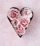 pink roses in cookie cutter - stock photo