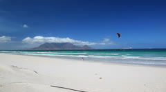 Cape Town's Table Mountain Seen from a Distant Beach Stock Footage
