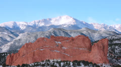 Garden of the Gods view of Pikes Peak Stock Footage