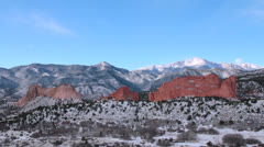 Garden of the Gods with Pikes Peak in the Background I Stock Footage