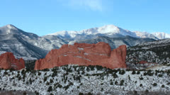 Pikes Peak with Garden of the Gods in the Foreground. Stock Footage