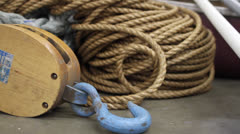 Nautical rope, pulley and hook Stock Footage