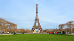 Paris, France - Eiffel Tower - Day Scene 1 - Blue sky. Spring Stock Footage