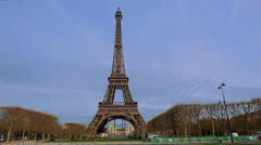 Paris, France. Eiffel Tower 2 - La tour. Timelapse - Day Scene. Traffic, people Stock Footage