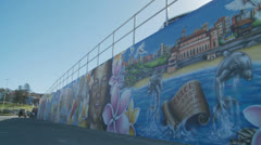 Graffiti at Bondi - slow motion dolly 8 Stock Footage