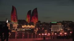 Baku Flame Towers at night Stock Footage