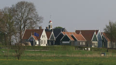 SCHOKLAND Village zoom out polder, reclaimed land Stock Footage